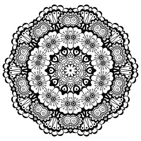 Round mandala. Black and white. Imagens - 77920154