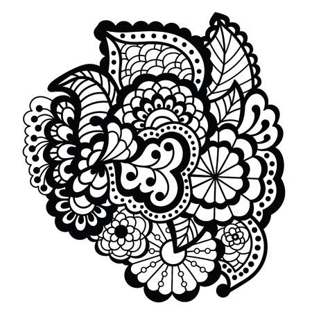 color tribal tattoo: Mehndi design. Floral pattern.