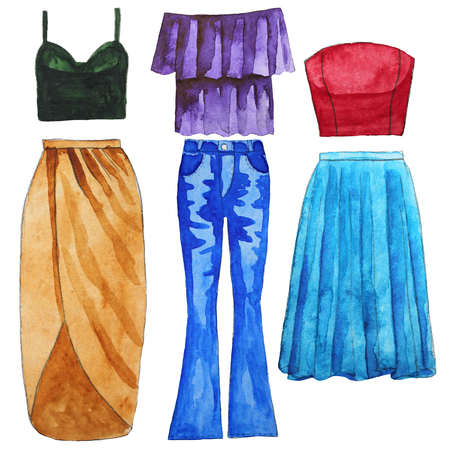 Skirt. Jeans. Top. Bardot. Wrap. Tulle. Hand drawn watercolor illustration.