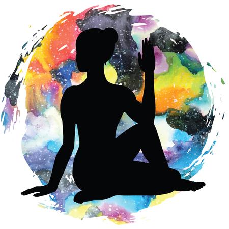 Women silhouette. Half Lord of Fishes Yoga Pose. Ardha Matsyendrasana