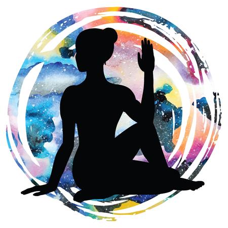 Women silhouette on galaxy astral background. Half Lord of Fishes Yoga Pose. Ardha Matsyendrasana. Vector illustration Illustration