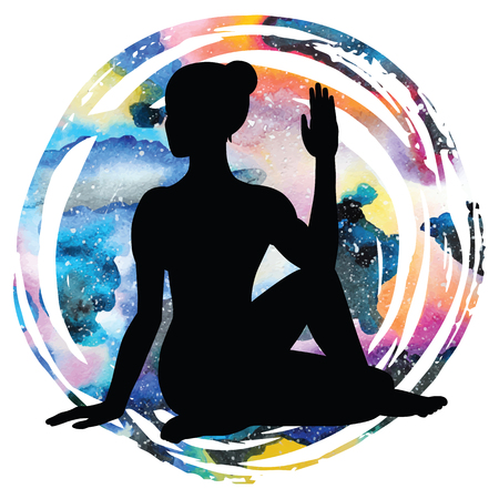 astral: Women silhouette on galaxy astral background. Half Lord of Fishes Yoga Pose. Ardha Matsyendrasana. Vector illustration Illustration
