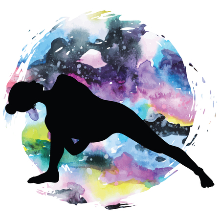 Women silhouette on galaxy astral background. Fully Bound Side Angle Yoga Pose Baddha Parsvokanasana Vector illustration Illustration