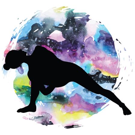baddha: Women silhouette on galaxy astral background. Fully Bound Side Angle Yoga Pose Baddha Parsvokanasana Vector illustration Illustration