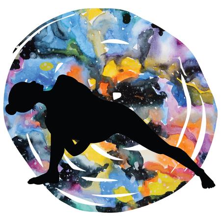 astral: Women silhouette on galaxy astral background. Fully Bound Side Angle Yoga Pose Baddha Parsvokanasana Vector illustration Illustration