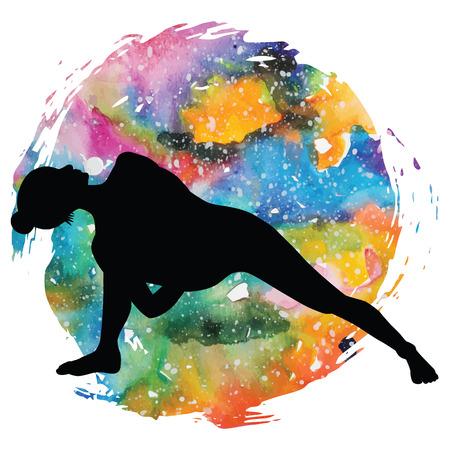baddha: Women silhouette. Fully Bound Side Angle Yoga Pose Baddha Parsvokanasana
