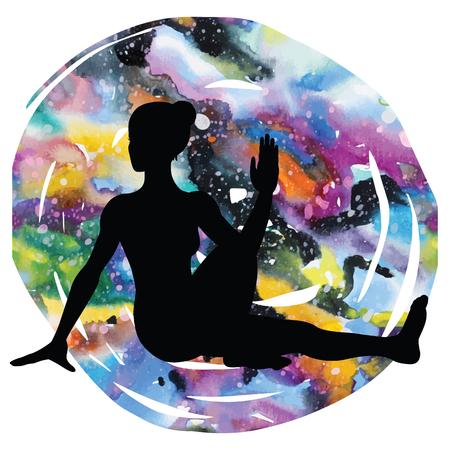 Women silhouette. Marichis yoga pose. Marichyasana