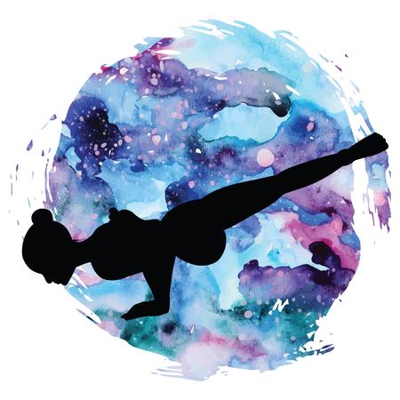 Women silhouette. Flying Pigeon yoga pose. Eka Pada Galavasana