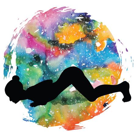 Women silhouette. Eight-Limbed Yoga Pose Ashtangasana Illustration
