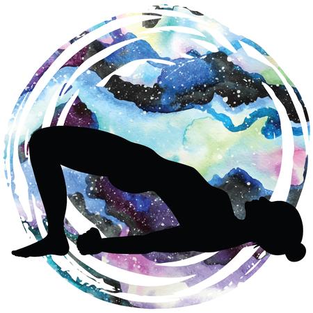 spiritual energy: Women silhouette. Bridge Yoga Pose. Setu Bandha Sarvangasana