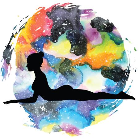 Women silhouette.Sphinx yoga Pose. Salamba Bhujangasana.