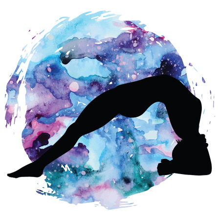 dwi: Women silhouette. Upward Facing Two-Foot Staff Yoga Pose. Dwi Pada Viparita Dandasana Illustration