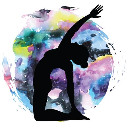 Women silhouette. Revolved Camel Yoga Pose. Parivrtta Ustrasana Illustration