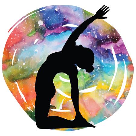 spiritual energy: Women silhouette. Revolved Camel Yoga Pose. Parivrtta Ustrasana Illustration