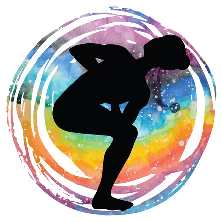 Women silhouette. Revolved Chair Yoga Pose. Parivrtta Utkatasana