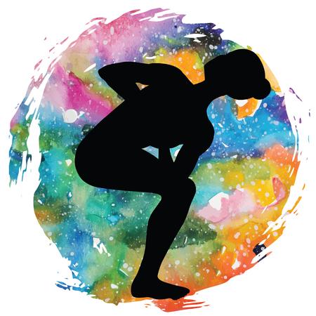 spiritual energy: Women silhouette. Revolved Chair Yoga Pose. Parivrtta Utkatasana