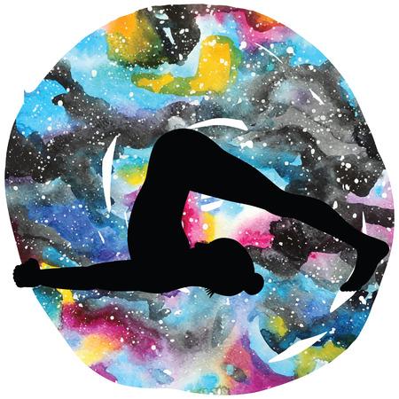 Women silhouette. Plow Yoga Pose. Halasana Illustration