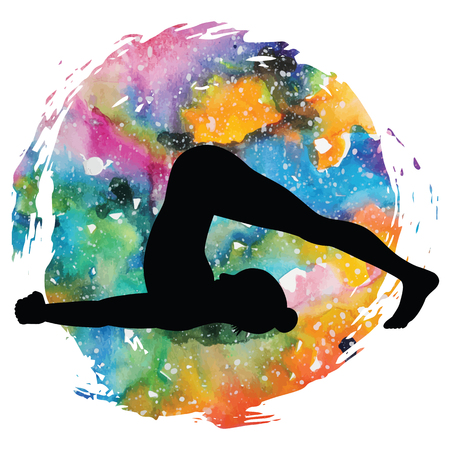spiritual energy: Women silhouette. Plow Yoga Pose. Halasana Illustration