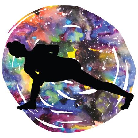 Women silhouette. Revolved Side Angle Yoga Pose. Parivrtta Parsvakonasana Illustration