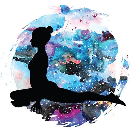 Women silhouette. Pigeon Yoga Pose. Kapotasana