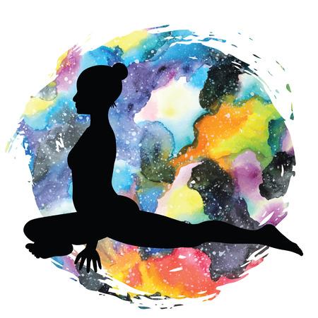 Women silhouette on galaxy astral background. Pigeon Yoga Pose. Kapotasana Vector illustration Illustration
