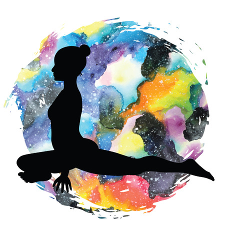 astral: Women silhouette on galaxy astral background. Pigeon Yoga Pose. Kapotasana Vector illustration Illustration