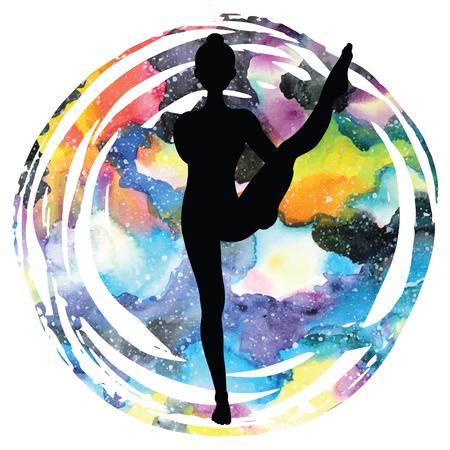 Women silhouette on galaxy astral background. Bird of Paradise Yoga Pose. Svarga Dvidasana Vector illustration Illustration