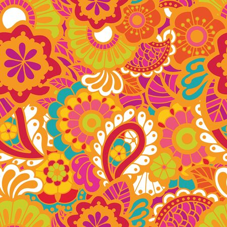pattern: Paisley mehndi seamless colorful pattern. Vector illustration