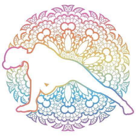 Women silhouette. Fully Bound Side Angle Yoga Pose. Baddha Parsvokanasana Illustration
