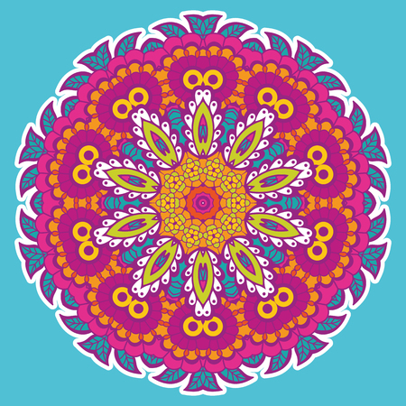 Round colorful mandala design. Creative vector illustration Illustration