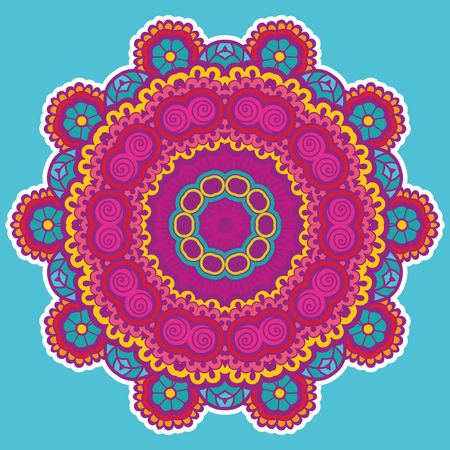 lace pattern: Round colorful mandala design. Creative vector illustration Illustration
