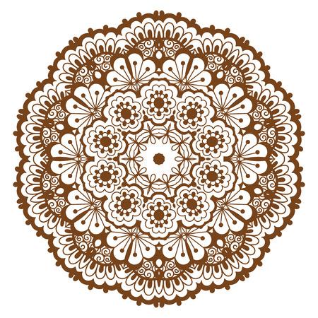 Round brown mandala. Çizim