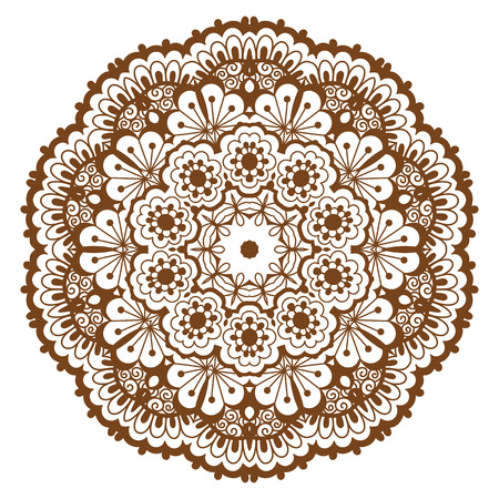 Round brown mandala. Illustration