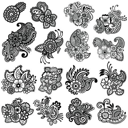 Diseño Mehndi. Patrón Floral. Dibujo Para Colorear Ilustraciones ...
