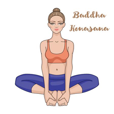 Women silhouette. Bound Angle yoga pose. Baddha Konasana Vector illustration