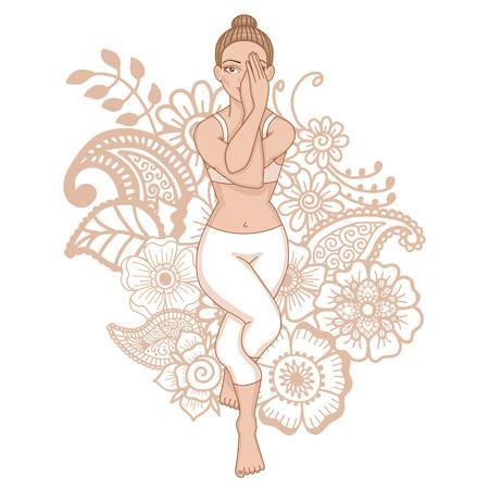 Women silhouette. Eagle yoga pose. Garudasana