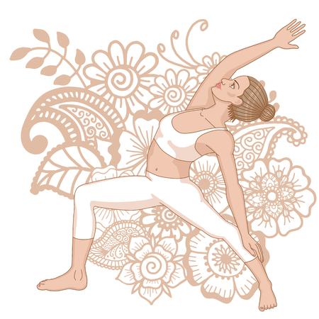 Women silhouette. Reserved warrior yoga pose. Viparita Virabhadrasana Illustration