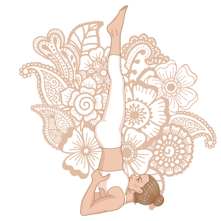 Women silhouette. Supported shoulderstand yoga pose. Salamba Sarvangasana