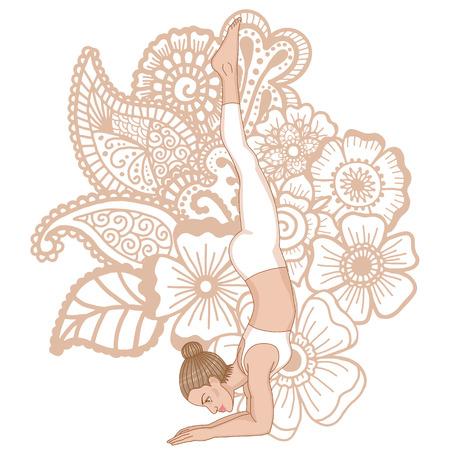 Women silhouette. Feathered peacock yoga pose. Pincha Mayurasana Vector illustration