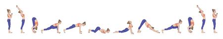 Sun salutation. Surya namaskara. Yoga sequence Vector illustration Vettoriali