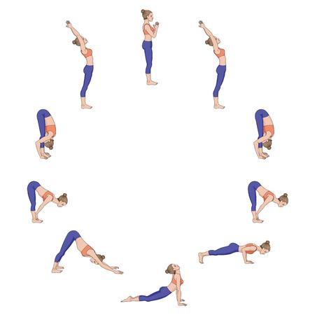 Sun salutation. Surya namaskara A. Yoga sequence. Vector illustration