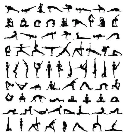 Sagome delle donne. Raccolta di yoga pose. Set di Asana. Illustrazione vettoriale