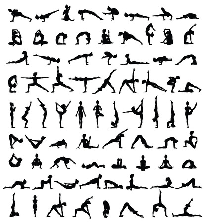 Women silhouettes. Collection of yoga poses. Asana set. Vector illustration