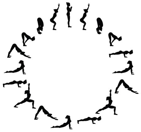 Powitanie słońca. Surya namaskara B. Sekwencja jogi. Ilustracji wektorowych