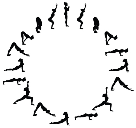 Sun salutation. Surya namaskara B. Yoga sequence. Vector illustration