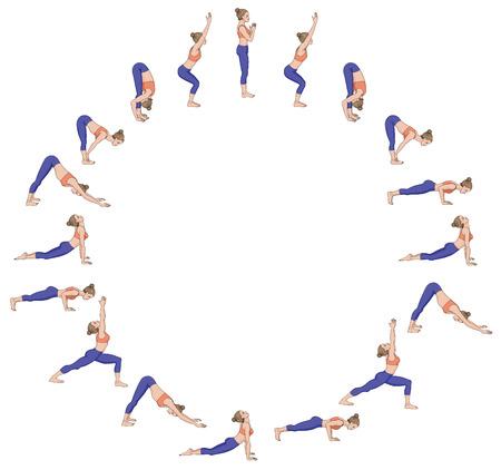Saludo al sol Surya namaskara B. Secuencia de yoga. Ilustración de vector