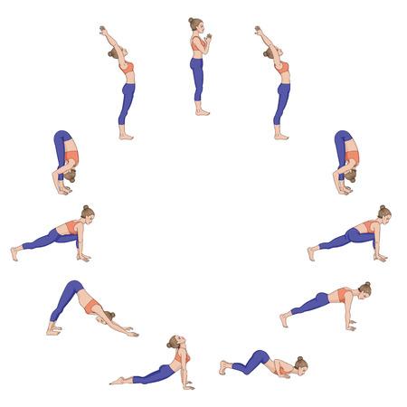 Sun salutation. Surya namaskara. Yoga sequence Vector illustration Stock Illustratie
