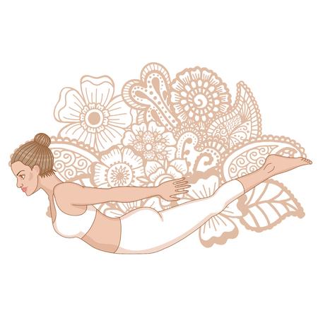 Women silhouette. Locust yoga pose. Salabhasana Illustration
