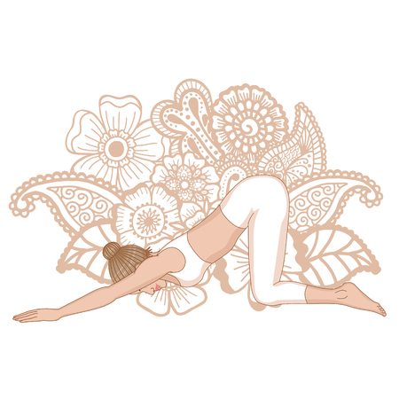 Women silhouette. Extended Puppy yoga pose. Uttana Shishosana Illustration