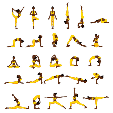 Set of yoga poses icon. 免版税图像 - 87279341